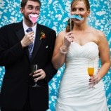 bride and groom blue blackground