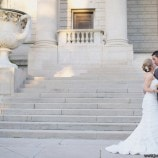 bride and groom outside of carnegie