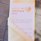 menu card in yellow napkin