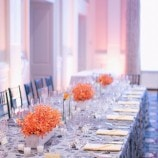 orange and grey head table