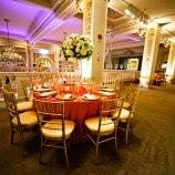 orange round table setting at women's museum