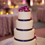 4 Tier Wedding Cake with Purple Orchid Petals