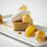 Olive Oil Cake with Caramelized Granny Smith Apple and Mascarpone Sorbet