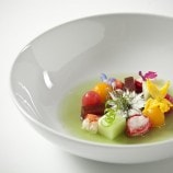 Heirloom Baby Tomatoes with Compressed Melons in Green Tomato Consomme
