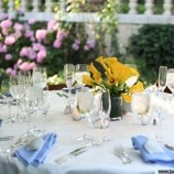 table setting at textile wedding