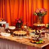 dessert buffet on wood plank