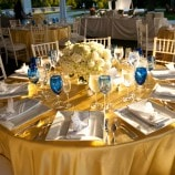 yellow table setting with blue glasses