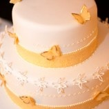 yellow butterfly wedding cake
