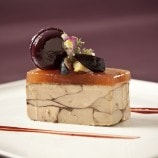 Foie Gras Terrine with Mission Fig Macaron and Madeira Jelly