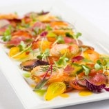 Kobe Beef Carpaccio with Heirloom Tomato and Yellow Tomato Vinaigrette