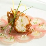 Diver Scallop in Potato Crust with Tuna and Scallop Sashimi
