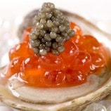 """Oysters & Pearls"" Nova Scotia Oysters with Pearls of Salmon, Ossteria Caviar, Martini Vinaigrette"