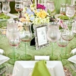 green and pink table setting