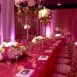 pink table with gold chairs