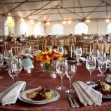 fall table setting with first course