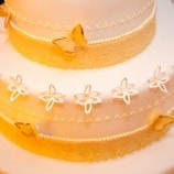 Yellow and White Butterfly Wedding Cake