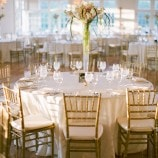 Gold and White table setting at Morais