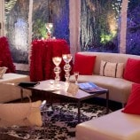 Pink and white loung area