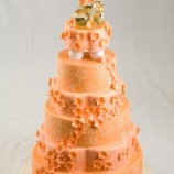 peach colored wedding cake