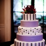purple stripe and polk-a-dot wedding cake
